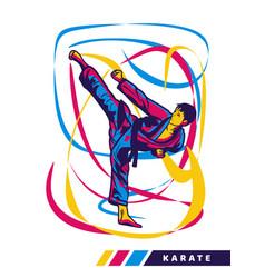 Man doing kick karate martial art with motion vector