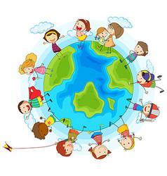 many children around world vector image