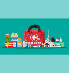 Medical first aid kit with pills and devices vector