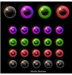 Neon web buttons vector