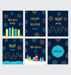 New year eve fireworks celebration cards and vector