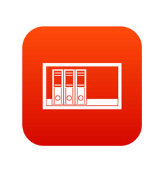 Office folders on the shelf icon digital red vector