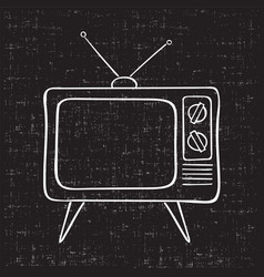 old tv set hand drawn vintage vector image
