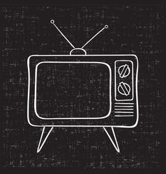 Old tv set hand drawn vintage vector