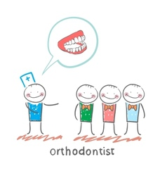 Orthodontist says with patients about their teeth vector