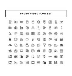 photo and video icons set with outline style vector image