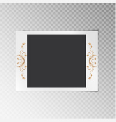 photo frame with gold flowers vector image