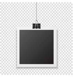 photo frame with shadow hanging with paper clip vector image