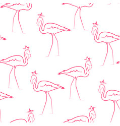 Pink flamingo birds wearing crown seamless pattern vector