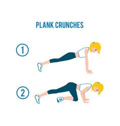 Plank crunches - fitness exercise steps for abs vector