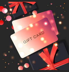 poster with gift cards black gift box vector image