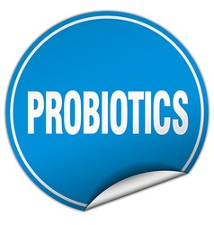 Probiotics round blue sticker isolated on white vector