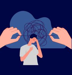 Psychotherapy mental disorder sad man vector