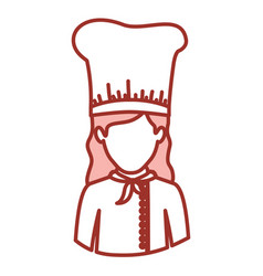 Red contour of half body of faceless female chef vector