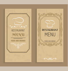 restaurant menu with drinks and food templates vector image