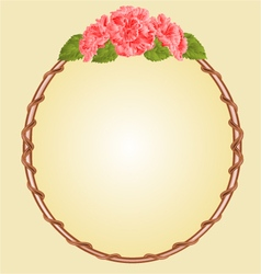 Round frame with pink hibiscus greeting card vector