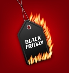 Sale Discount with Fire Flame for Black Friday vector image