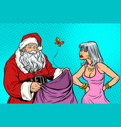 Santa claus without gifts and angry woman vector