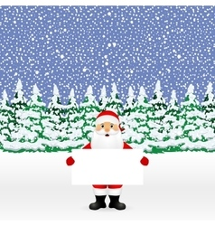 Santa peeping from behind a big white banner vector