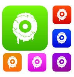 scary eyeball set color collection vector image