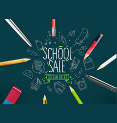 school sale banner with doodle elements vector image