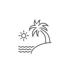 Sea and palm line icon vector