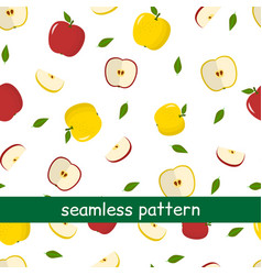seamless pattern of yellow and red apples and vector image