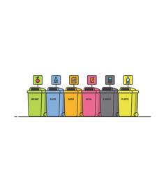 separate sorting waste bins vector image