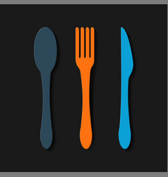 Silhouettes five covered including spoon fork vector