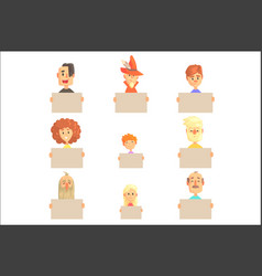 smiling cartoon men women and kids characters vector image