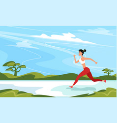 Strong athletic woman sprinter running outdoors vector