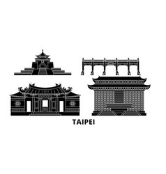 Taiwan taipei flat travel skyline set taiwan vector