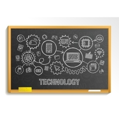 Technology hand draw integrate icons set on school vector image
