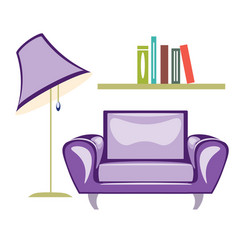 the armchair and floor lamp vector image vector image