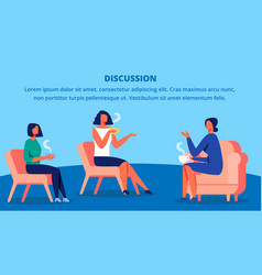 three women in red chairs drink tea and discussion vector image