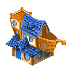 Toy house brown and blue color in the style of the vector