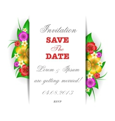 Tropical flowers invitation card template vector