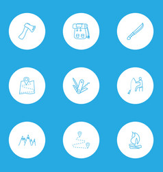 vacation icons line style set with bonfire vector image