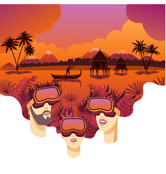 virtual reality travel vector image