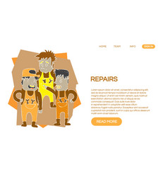 Web page design templates for repair services vector