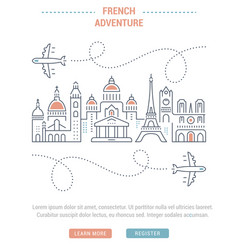 Website banner and landing page french adventure vector