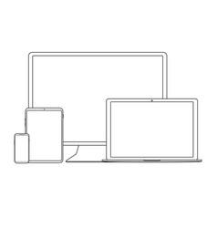 white outline digital gadgets vector image