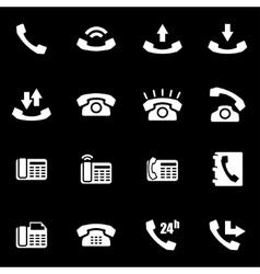 White telephone icon set vector