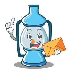 With envelope lantern character cartoon style vector