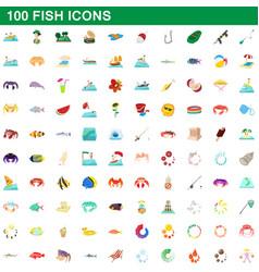 100 fish icons set cartoon style vector image