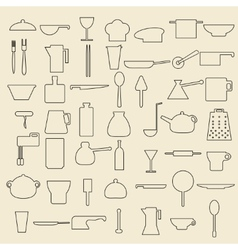 Cooking items linear icons vector image