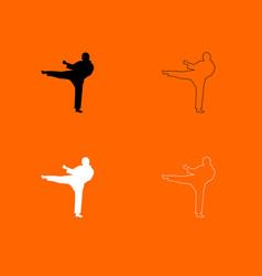 karate man black and white set icon vector image