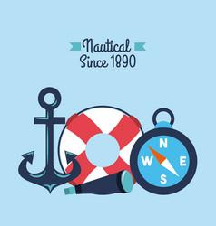 nautical anchor lifebouy spyglass compass symbols vector image