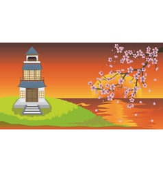 Oriental House and Sakura vector image