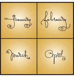 Set handwritten calligraphy words January vector image